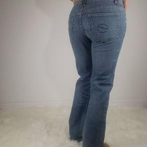 Bebe rhinestone embellished boot cut jeans